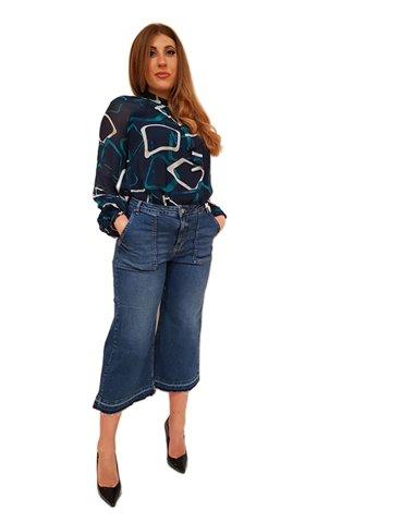 Fracomina jeans flare culotte cropped sfrangiato lavaggio medio